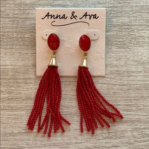 Red Beaded Tassel Earrings- never worn